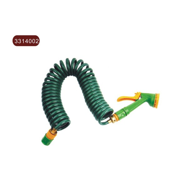 EVA coil hose with brass fitting & plastic coupling & 4 function spray nozzle