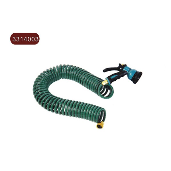 EVA coil hose with brass fitting & 8 function spray nozzle