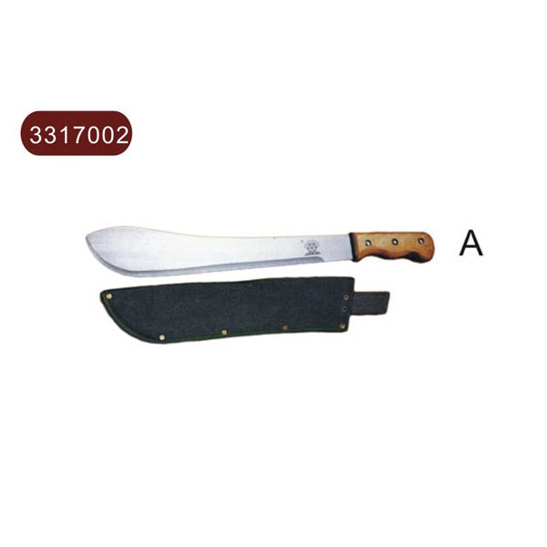 Machete with wooden handle, canvas shield